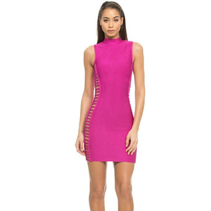 High Neck Sleeveless Cut Out Mini Bandage Dress HJ402 2 in wolddress