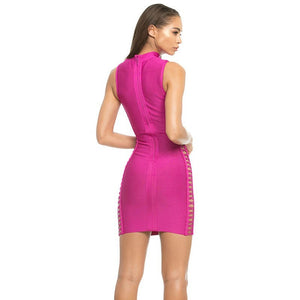 High Neck Sleeveless Cut Out Mini Bandage Dress HJ402 4 in wolddress
