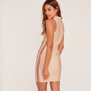 High Neck Sleeveless Cut Out Mini Bandage Dress HJ402 12 in wolddress