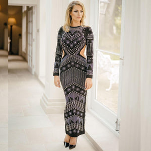 Round Neck Long Sleeve Diamente Embellished Maxi Bodycon Dress HJ513 2 in wolddress
