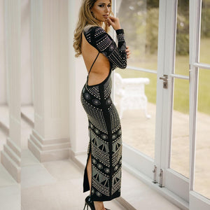 Round Neck Long Sleeve Diamente Embellished Maxi Bodycon Dress HJ513 3 in wolddress
