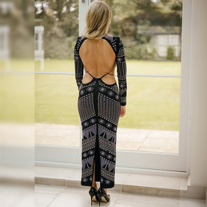 Round Neck Long Sleeve Diamente Embellished Maxi Bodycon Dress HJ513 4 in wolddress