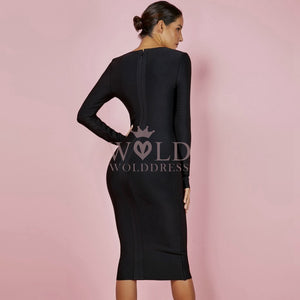 Round Neck Long Sleeve Cut Out Over Knee Bandage Dress HJ648 3 in wolddress