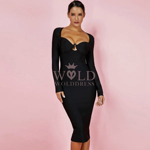 Round Neck Long Sleeve Cut Out Over Knee Bandage Dress HJ648 1 in wolddress