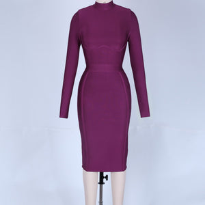 Round Neck Long Sleeve Plain Midi Bandage Dress HJ672 12 in wolddress