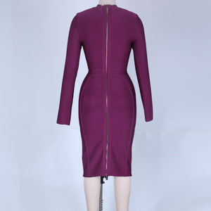 Round Neck Long Sleeve Plain Midi Bandage Dress HJ672 14 in wolddress