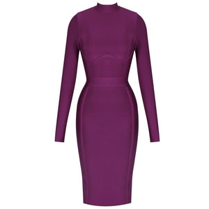 Round Neck Long Sleeve Plain Midi Bandage Dress HJ672 11 in wolddress