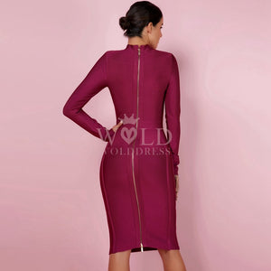 Round Neck Long Sleeve Plain Midi Bandage Dress HJ672 3 in wolddress