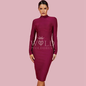 Round Neck Long Sleeve Plain Midi Bandage Dress HJ672 1 in wolddress