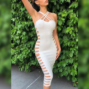 Halter Sleeveless Cutout Over Knee Bandage Dress HK040 1 in wolddress