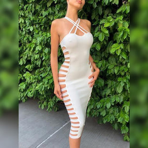 Halter Sleeveless Cutout Over Knee Bandage Dress HK040 2 in wolddress