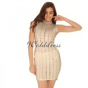 Round Neck Sleeveless Hallow Out Mini Bandage Dress HT0065 7 in wolddress