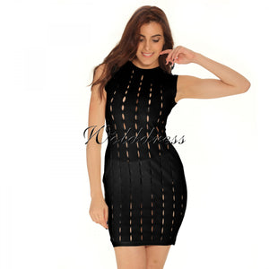 Round Neck Sleeveless Hallow Out Mini Bandage Dress HT0065 17 in wolddress