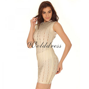 Round Neck Sleeveless Hallow Out Mini Bandage Dress HT0065 8 in wolddress