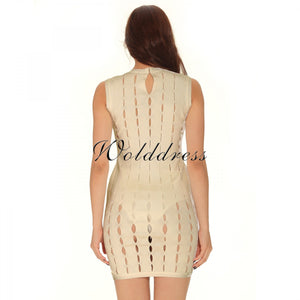 Round Neck Sleeveless Hallow Out Mini Bandage Dress HT0065 9 in wolddress