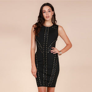 Round Neck Sleeveless Tassels Mini Bandage Dress HT0075 1 in wolddress