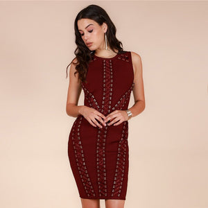 Round Neck Sleeveless Tassels Mini Bandage Dress HT0075 5 in wolddress