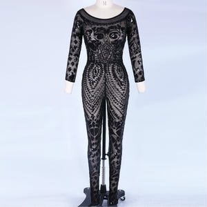 Off Shoulder Long Sleeve Sequined Bodycon Jumpsuit HT0622 2 in wolddress