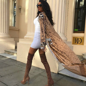 V Neck Long Sleeve Metal Studded Bodycon Ponchos HT1001 9 in wolddress