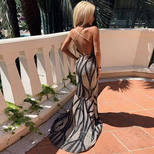 V Neck Sleeveless Fishtail Maxi Bodycon Dress HT2013 3 in wolddress