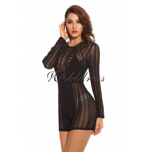 Round Neck Long Sleeve Mesh Bodycon Jumpsuit HW221 2 in wolddress