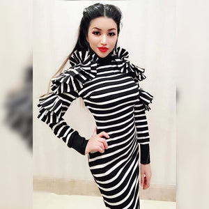 High Neck Long Sleeve Striped Maxi Bodycon Dress HW297 1 in wolddress