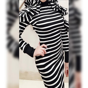 High Neck Long Sleeve Striped Maxi Bodycon Dress HW297 2 in wolddress