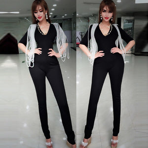 V Neck Mid Sleeve Beaded Bodycon Jumpsuit HW298 10 in wolddress