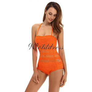 Halter Sleeveless Lace Bandage Bodysuit HT0084 17 in wolddress