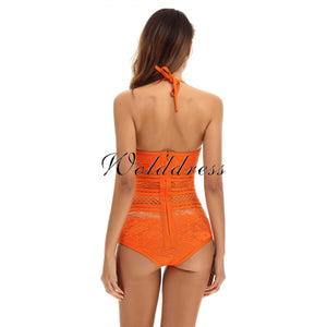 Halter Sleeveless Lace Bandage Bodysuit HT0084 19 in wolddress