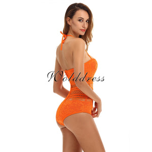 Halter Sleeveless Lace Bandage Bodysuit HT0084 18 in wolddress