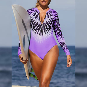 Round Neck Long Sleeve Stretchy Bodycon Swimsuit LC412046 4 in wolddress