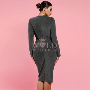 Round Neck Long Sleeve Mini Bodycon Dress LY007 3 in wolddress