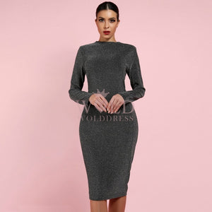 Round Neck Long Sleeve Mini Bodycon Dress LY007 1 in wolddress