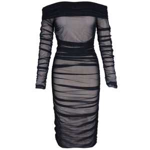 Off Shoulder Long Sleeve Ruched Mini Bodycon Dress FSP19054 10 in wolddress