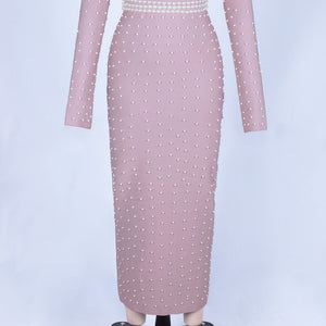 Round Neck Long Sleeve Beaded Maxi Bandage Dress PZ19233 7 in wolddress
