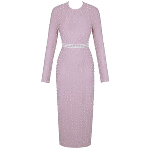 Round Neck Long Sleeve Beaded Maxi Bandage Dress PZ19233 3 in wolddress