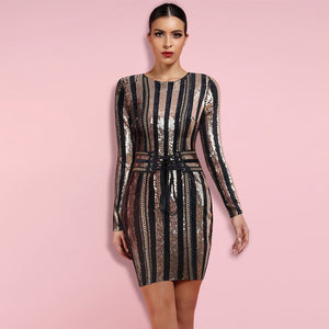 Round Neck Long Sleeve Sequined Mini Bodycon Dress HW238 1 in wolddress
