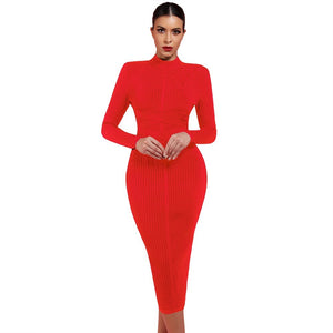 Round Neck Long Sleeve Striped Over Knee Bandage Dress PF1201 14 in wolddress
