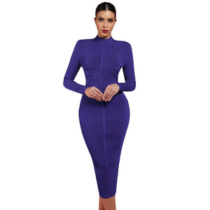 Round Neck Long Sleeve Striped Over Knee Bandage Dress PF1201 1 in wolddress