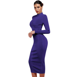 Round Neck Long Sleeve Striped Over Knee Bandage Dress PF1201 2 in wolddress