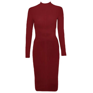 Round Neck Long Sleeve Striped Over Knee Bandage Dress PF1201 44 in wolddress