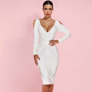 V Neck Long Sleeve Cut Out Over Knee Bandage Dress PF19007 1 in wolddress