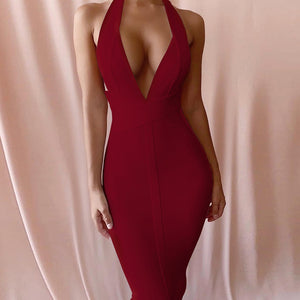Halter Sleeveless Plain Over Knee Bandage Dress PF19008 19 in wolddress