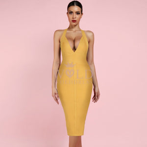 Halter Sleeveless Plain Over Knee Bandage Dress PF19008 6 in wolddress