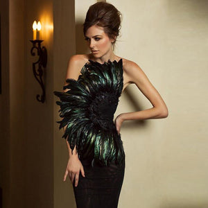 Strapless Sleeveless Feather Over Knee Bandage Dress PF19014 1 in wolddress
