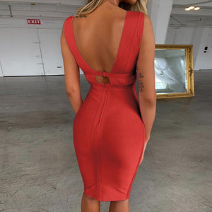 V Neck Sleeveless Hollow Out Mini Bandage Dress PF19056 19 in wolddress