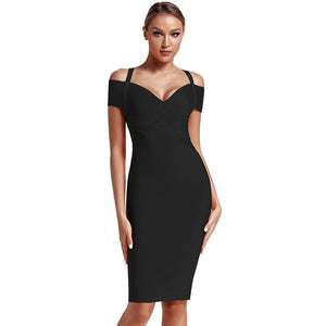 V Neck Mid Sleeve Striped Over Knee Bandage Dress PF19089 70 in wolddress