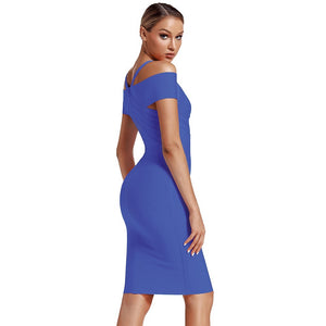 V Neck Mid Sleeve Striped Over Knee Bandage Dress PF19089 34 in wolddress