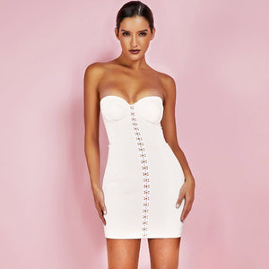 Strapless Sleeveless Metal Buckle Mini Bandage Dress PF19117 1 in wolddress